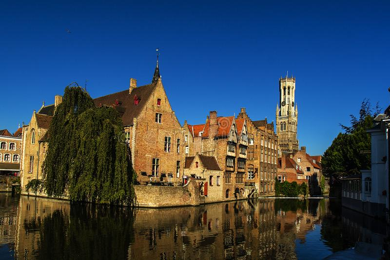 Brugge is one of the most beautiful cities in Europe. Colorful houses, canals, ancient churches and cathedrals and wonderful beer halls for gourmets royalty free stock image