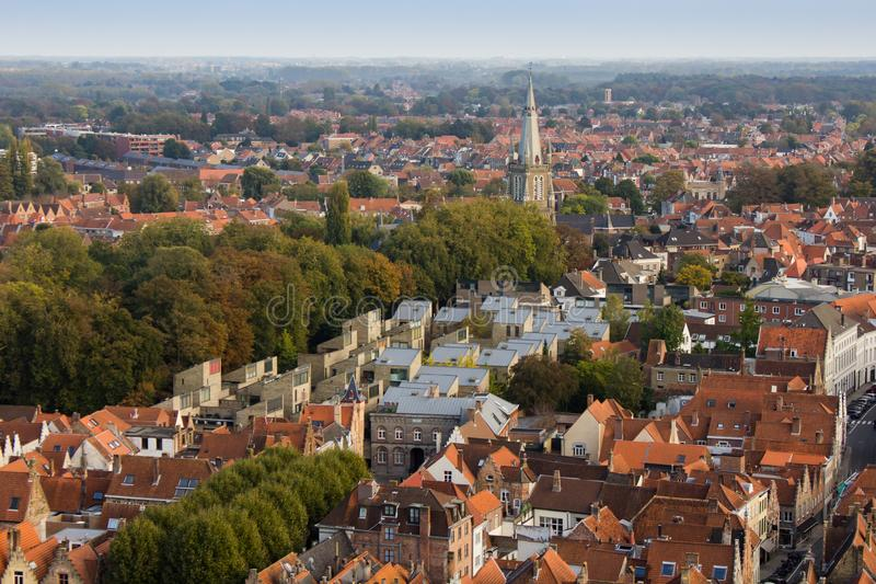 Brugge - stadsmening van hierboven royalty-vrije stock foto