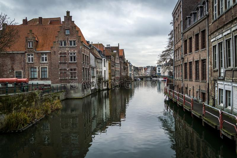 Brugge, West Flanders Belgium - January 2017: canals and old medieval houses, winter cityscape.  stock photography