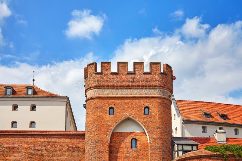 Brugpoort aan de Oude Stad in Torun, Polen stock fotografie