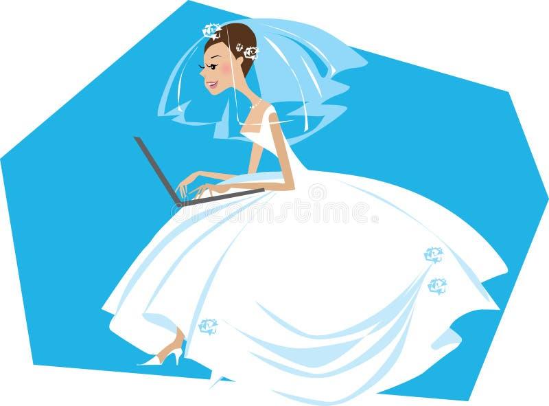 Bruid die aan een computer werkt vector illustratie
