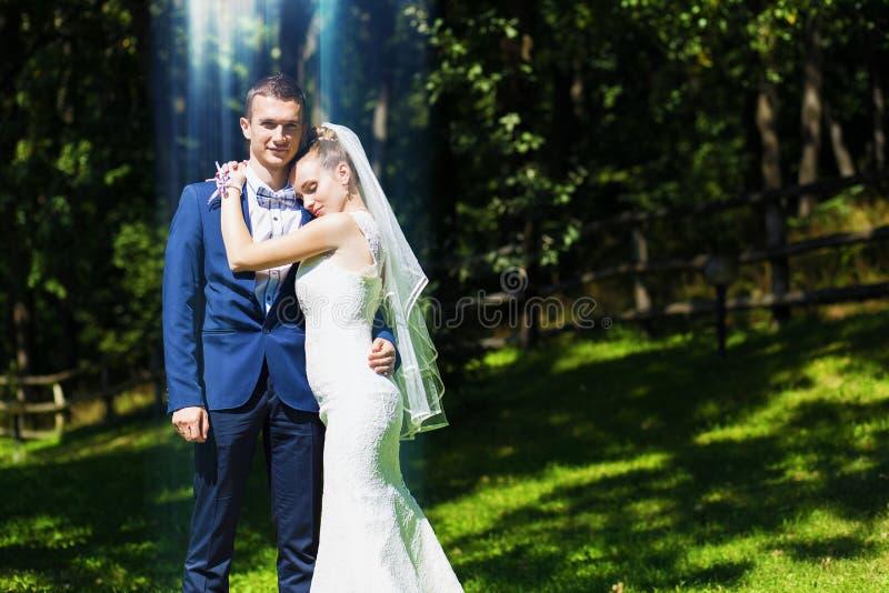 Bruid die bruidegom omhelst stock foto