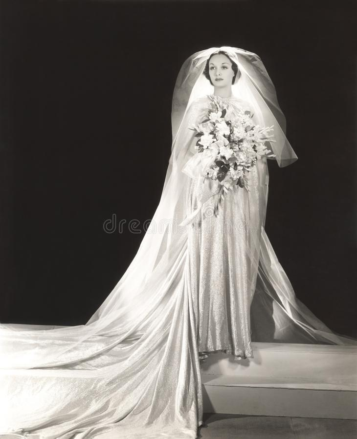 Bruid die de kleding van het glitteryhuwelijk dragen royalty-vrije stock afbeeldingen