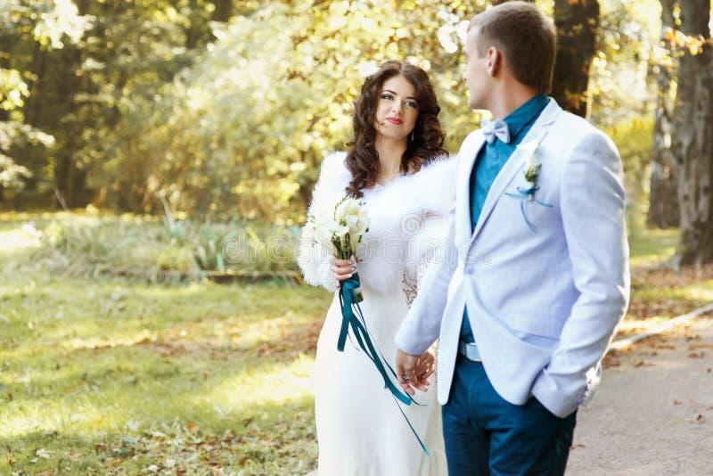 Bruid die met liefde fiance bekijken stock afbeeldingen