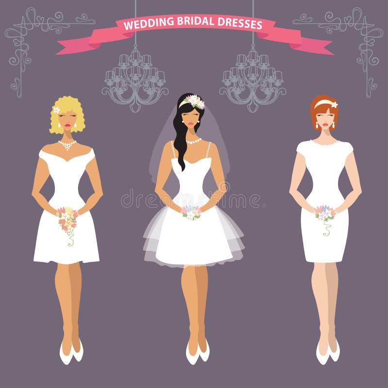 Bruid drie in korte Huwelijkskleding Vlakke manier vector illustratie