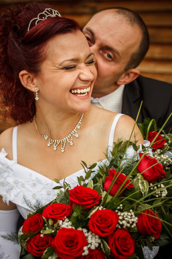 Bruid en bruidegom royalty-vrije stock afbeelding