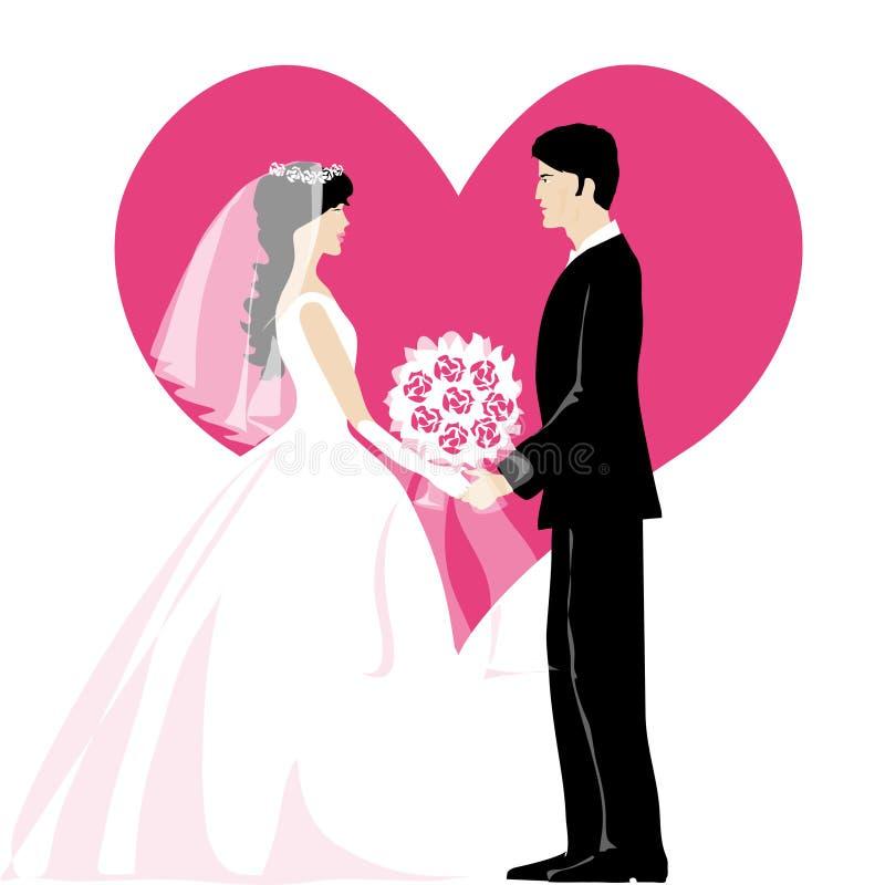 Bruid en bruidegom royalty-vrije illustratie