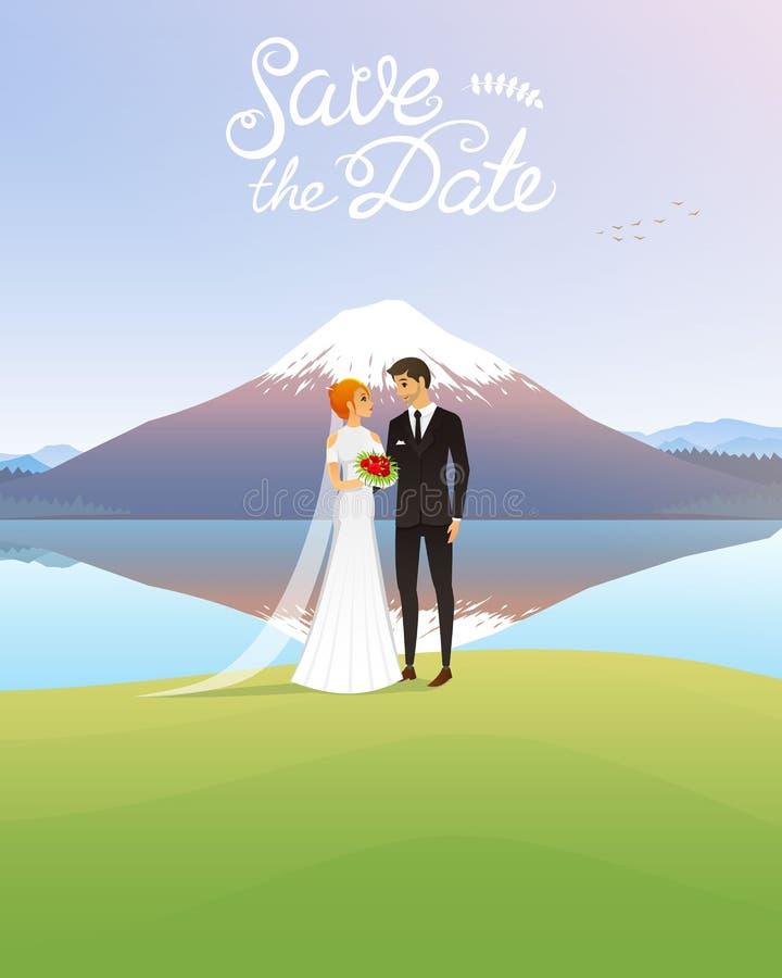 Bruid en Bruidegom en bergen Huwelijksceremonie door het Overzees Jonggehuwden, Valentijnskaartendag vectorillustratiekaart, Lief vector illustratie
