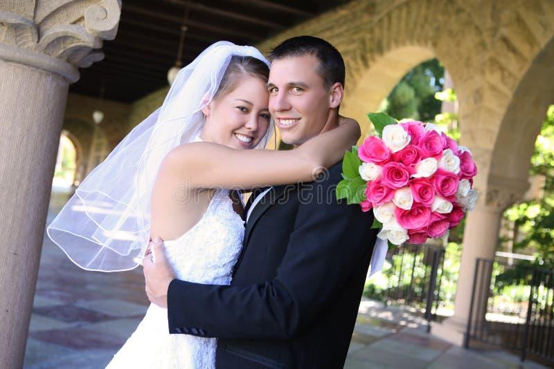 Bruid en Bruidegom bij Huwelijk royalty-vrije stock afbeelding