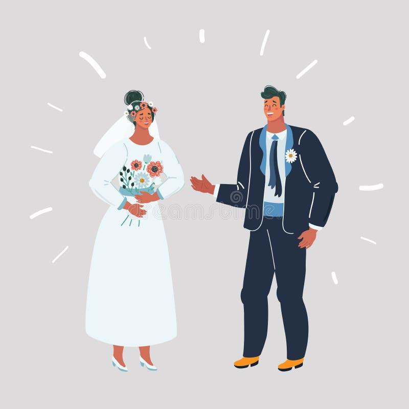 Bruid en bruidegom bij huwelijk vector illustratie
