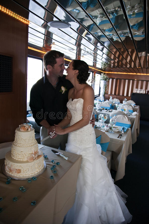 Bruid en Bruidegom bij ontvangst royalty-vrije stock afbeelding