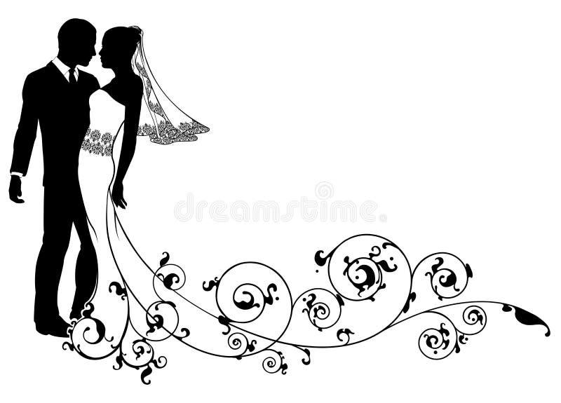 Bruid en bruidegom bloemenontwerp royalty-vrije illustratie