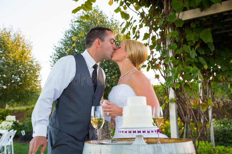 Bruid en Bruidegom Cake Cutting royalty-vrije stock fotografie