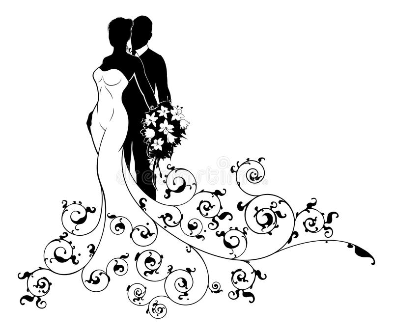 Bruid en Bruidegom de Samenvatting van Couple Wedding Silhouette stock illustratie