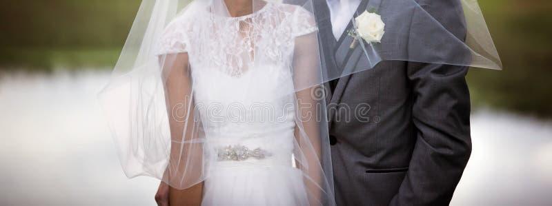 Bruid en Bruidegom de Sluier van Pose With Flowing royalty-vrije stock afbeeldingen