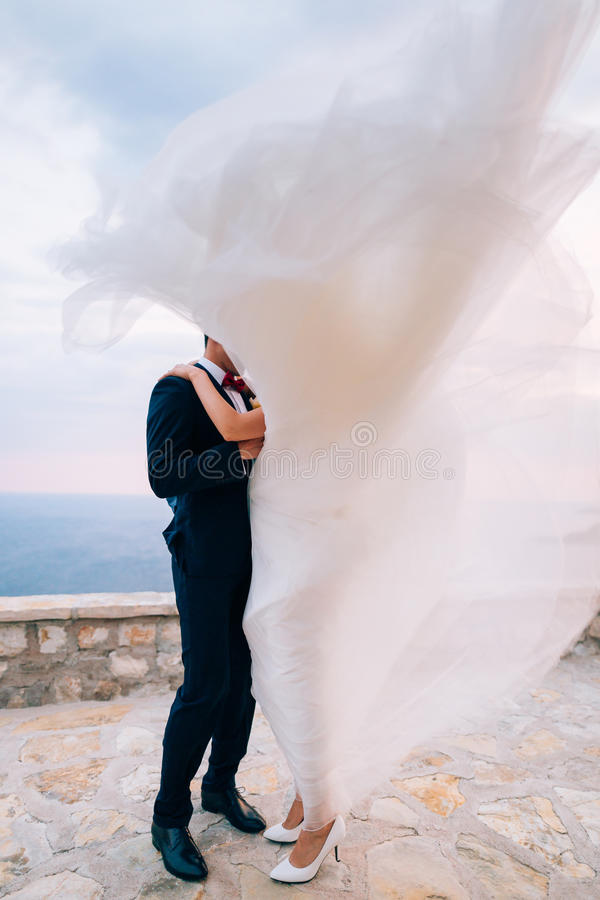 Bruid en bruidegom in de wind stock foto's
