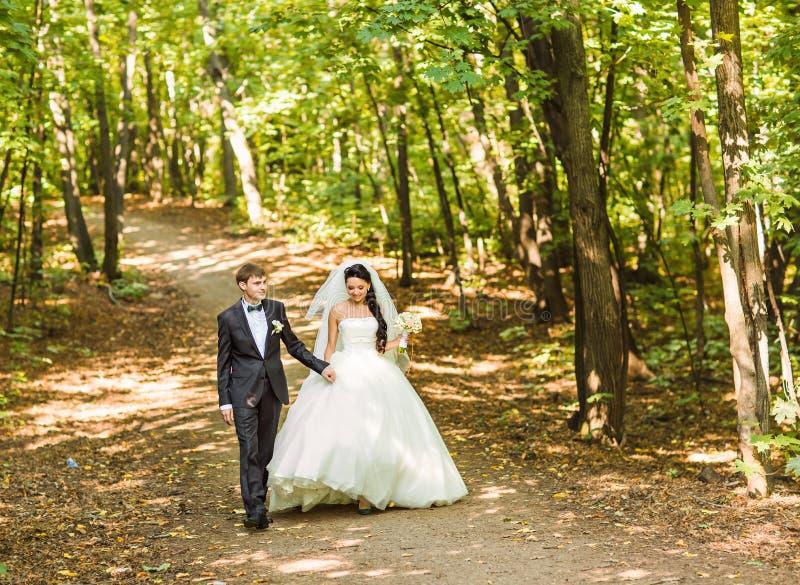 Bruid en Bruidegom die bij huwelijksdag in openlucht lopen stock foto's