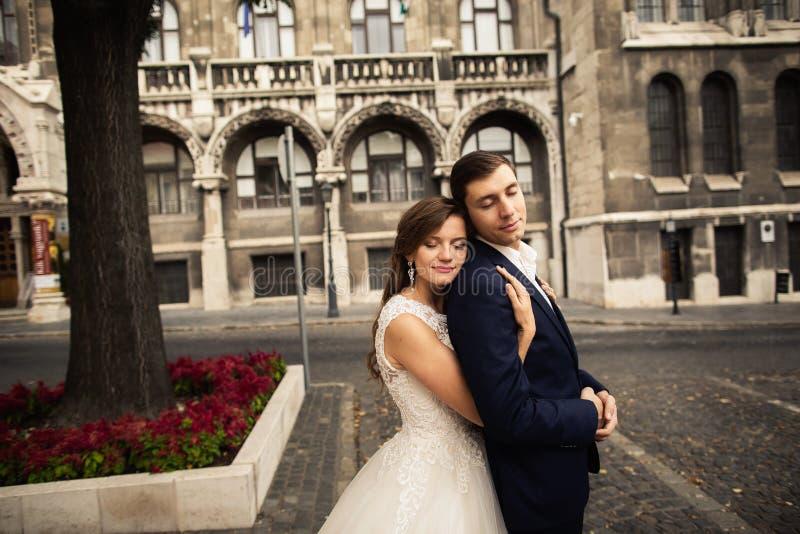 Bruid en bruidegom die in de oude stadsstraat koesteren Wedingspaar in liefde Het wieden in Boedapest stock foto
