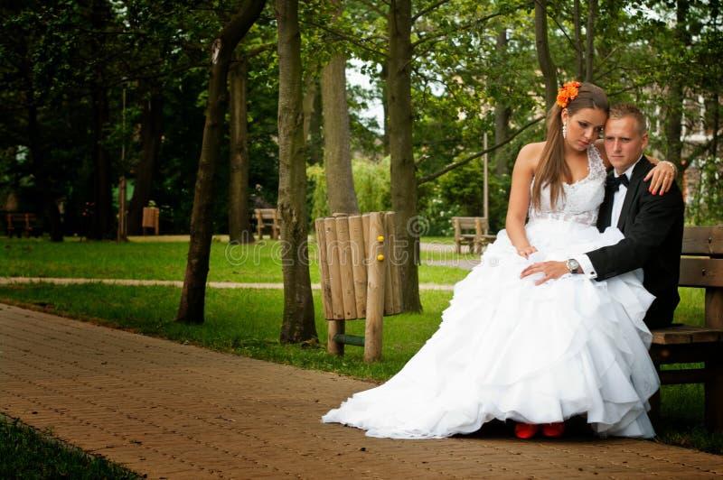 Bruid en bruidegom gezet in park stock fotografie
