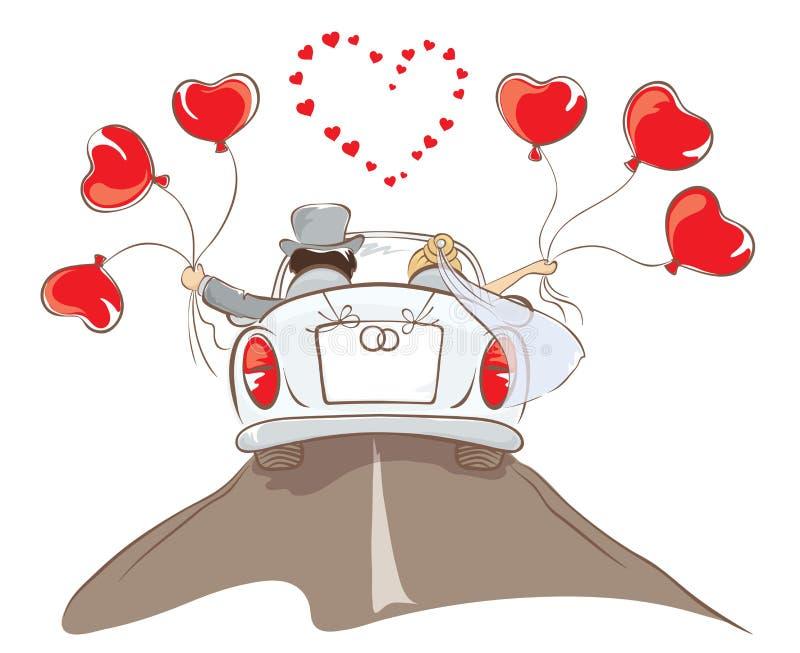 Bruid en bruidegom het berijden in een auto stock illustratie