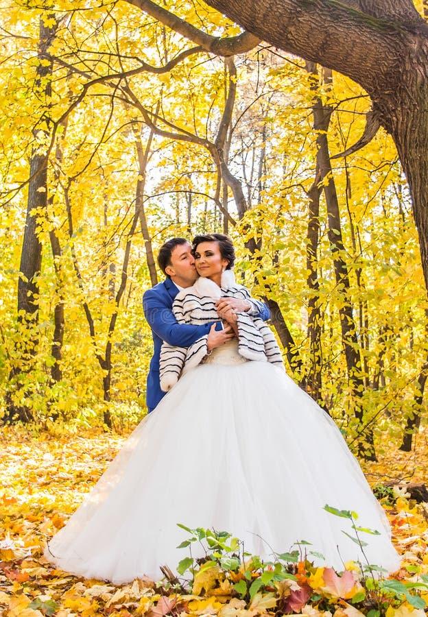 Bruid en bruidegom in het de Liefdeleven van het de herfstpark royalty-vrije stock foto's