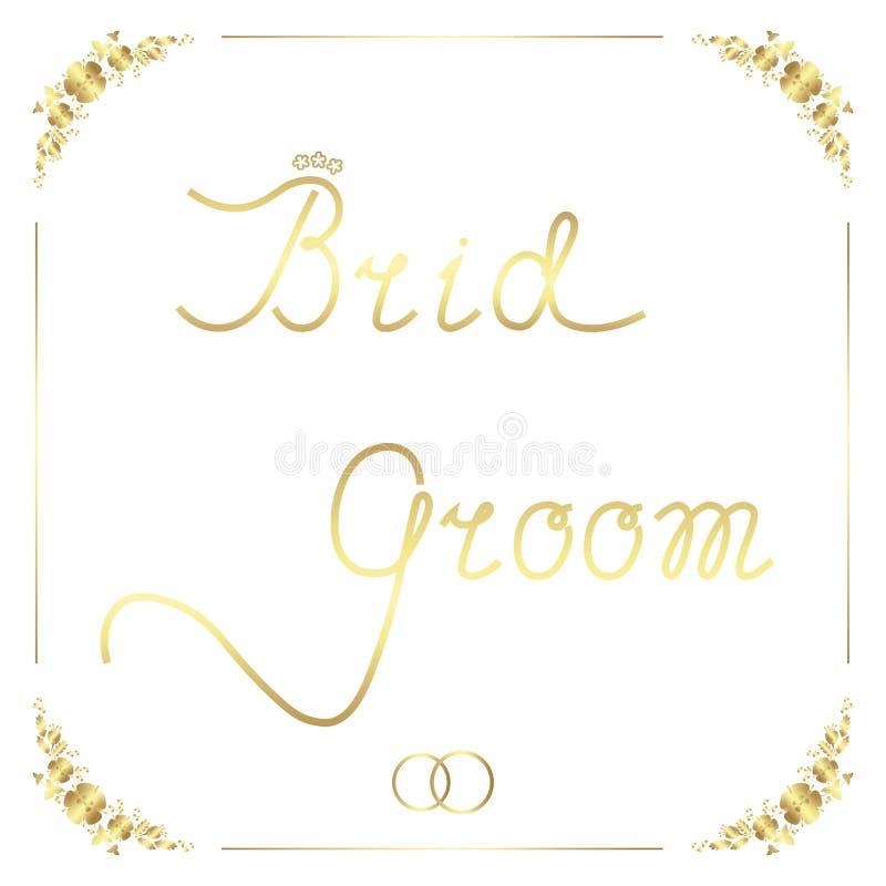Bruid en bruidegom Het hand van letters voorzien in kader voor huwelijksontwerp royalty-vrije illustratie