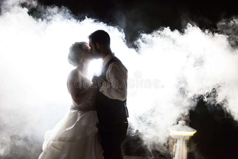 Bruid en Bruidegom het kussen in mist bij nacht stock afbeelding