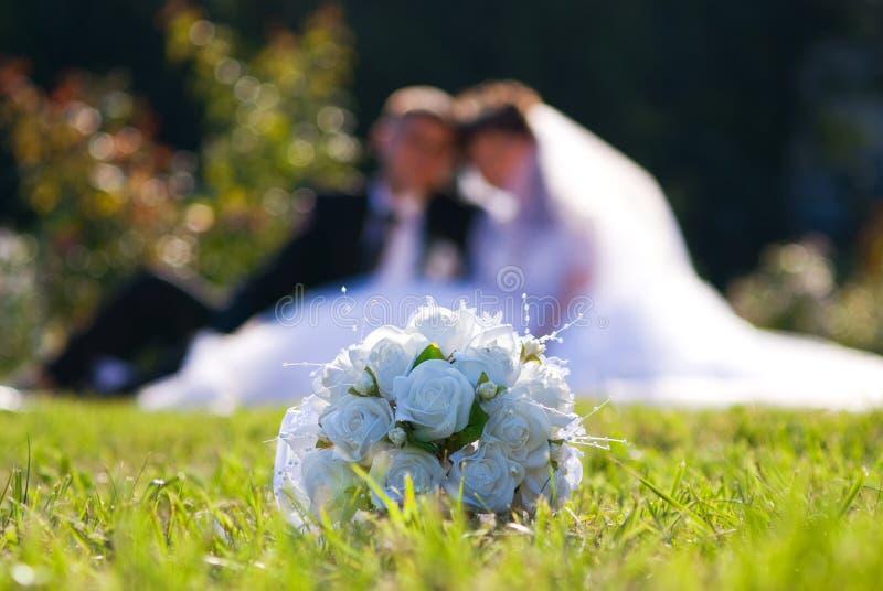 Bruid en bruidegom in het park stock foto's