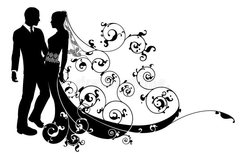 Bruid en bruidegom het silhouet van het huwelijkspaar vector illustratie