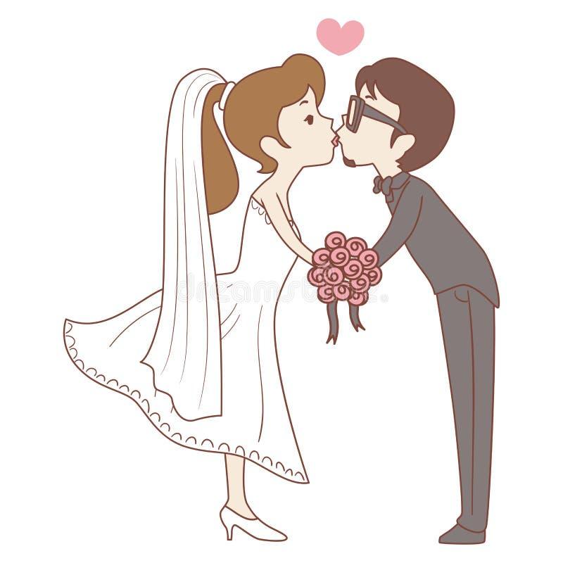 Bruid en Bruidegom Kissing Pose stock illustratie