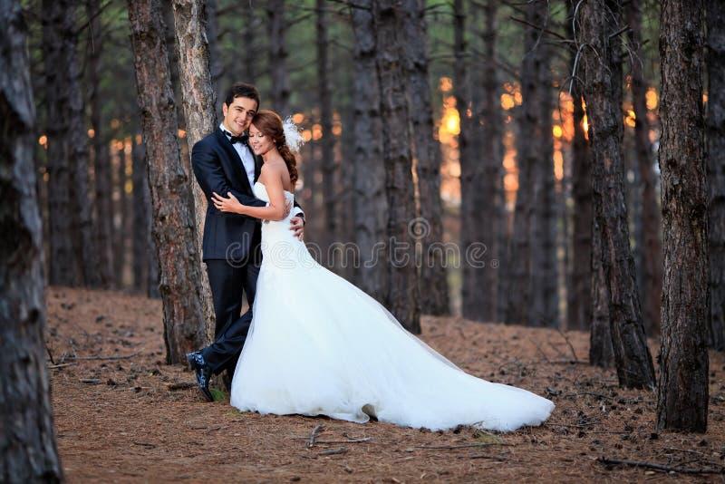 Bruid en bruidegom klaar voor het huwelijk stock fotografie