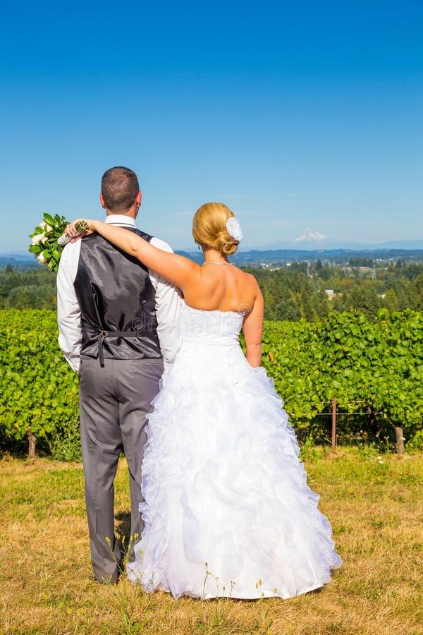 Bruid en Bruidegom met Fabelachtige Mening royalty-vrije stock afbeeldingen