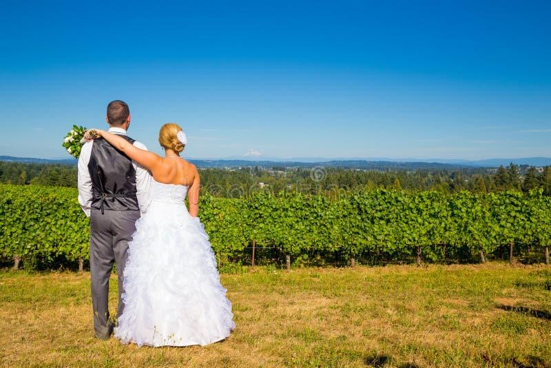 Bruid en Bruidegom met Fabelachtige Mening royalty-vrije stock foto's