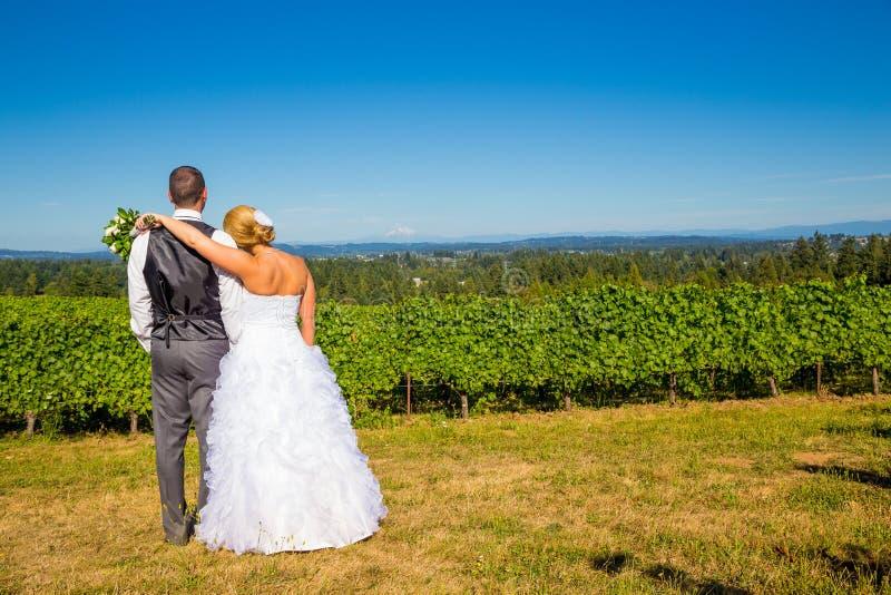 Bruid en Bruidegom met Fabelachtige Mening stock fotografie
