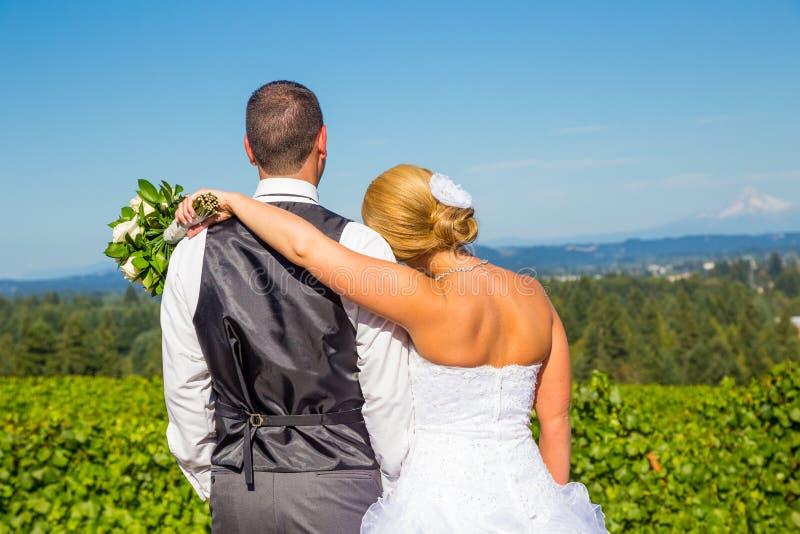 Bruid en Bruidegom met Fabelachtige Mening stock foto