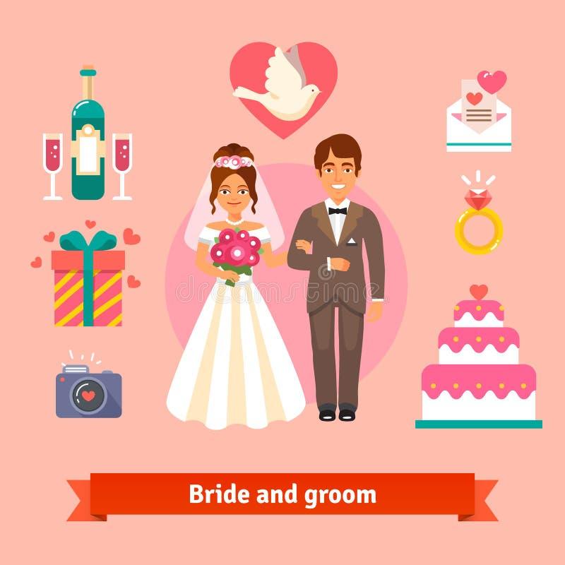 Bruid en bruidegom met geplaatste huwelijkspictogrammen vector illustratie