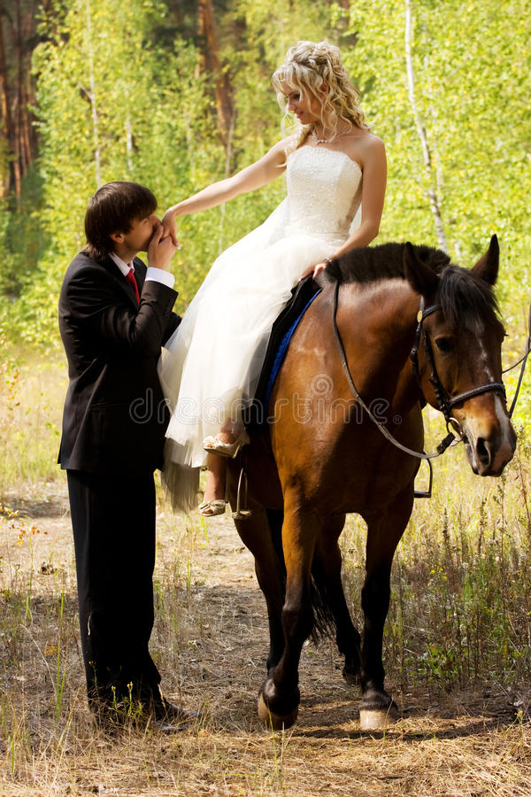 Bruid en bruidegom met paarden royalty-vrije stock foto