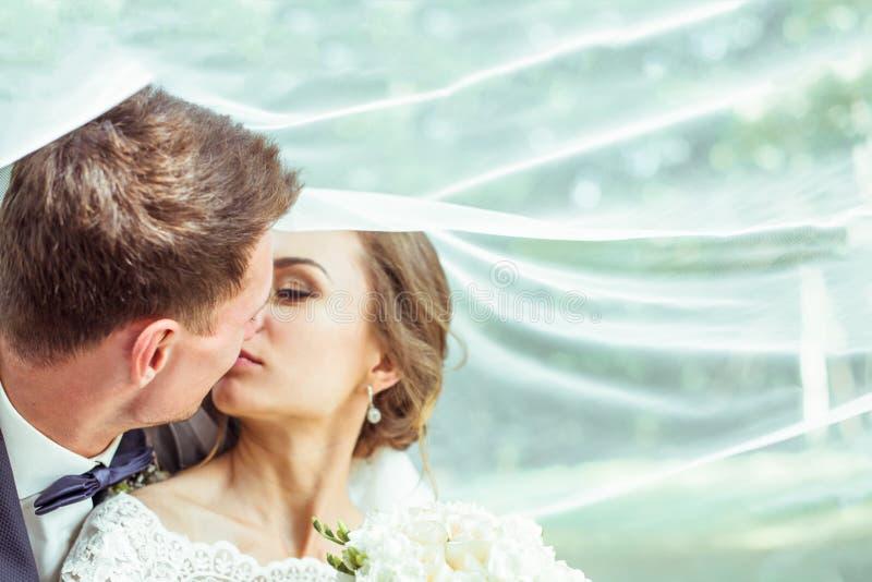 Bruid en bruidegom onder de sluier royalty-vrije stock foto's