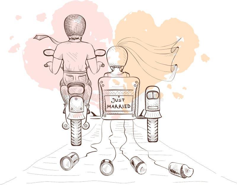 Bruid en bruidegom op een motorfiets stock illustratie