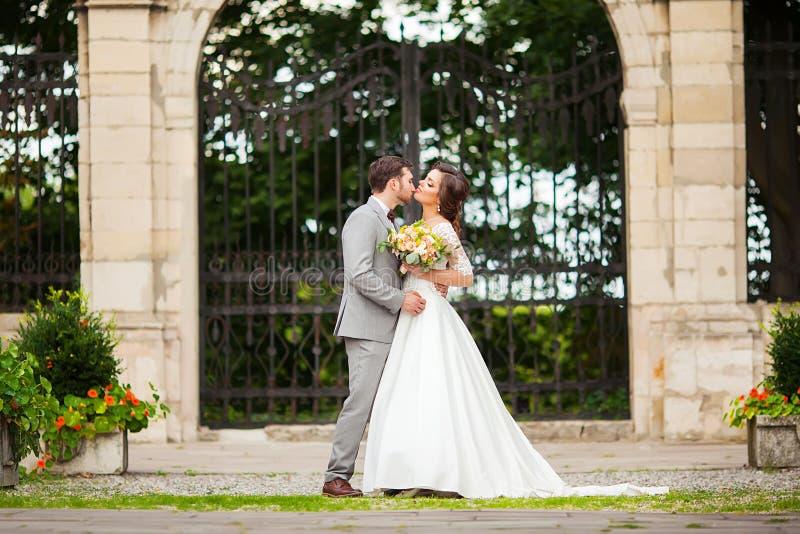 Bruid en bruidegom in park het kussen de bruid en de bruidegom van paarjonggehuwden bij een huwelijk in aard groen bos kussen fot royalty-vrije stock afbeeldingen
