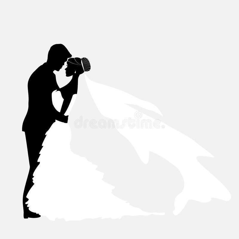 Bruid en Bruidegom Silhouette Wedding royalty-vrije illustratie