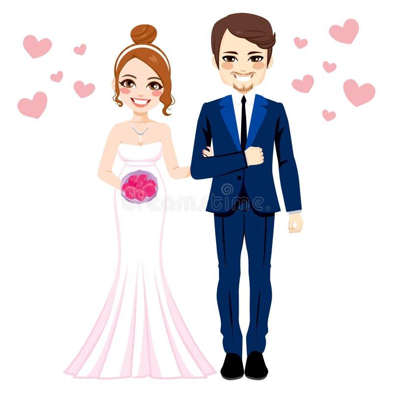Bruid en bruidegom status royalty-vrije illustratie