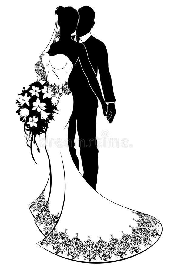 Bruid en Bruidegom Wedding Silhouette royalty-vrije illustratie