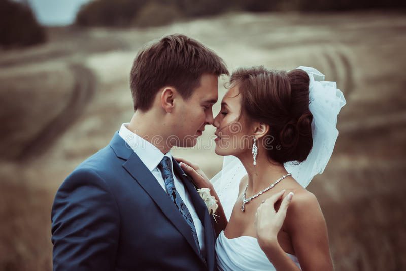 Bruid en bruidegomhuwelijksportretten stock foto's