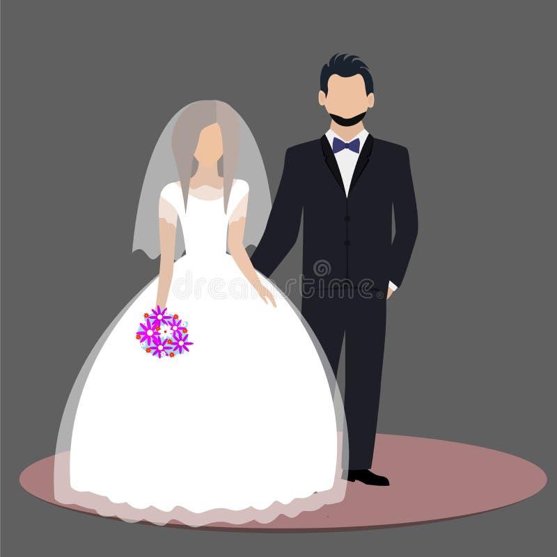 Bruid en bruidegompaar die zich op huwelijksdag bevinden royalty-vrije illustratie
