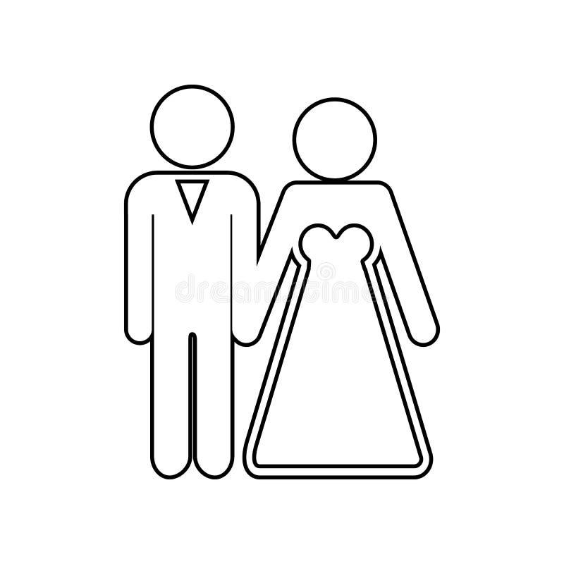 Bruid en bruidegomparen vectorpictogram Element van Familie voor mobiel concept en webtoepassingenpictogram Overzicht, dun lijnpi vector illustratie