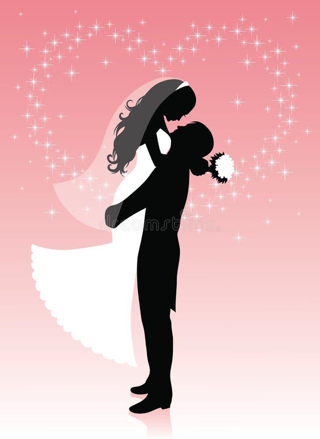 Bruid en een bruidegom. royalty-vrije illustratie