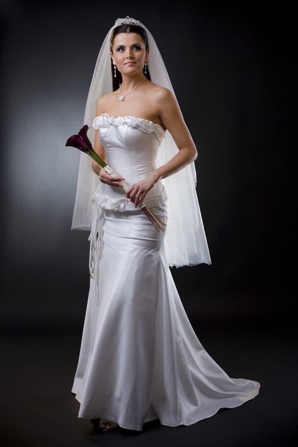 Bruid in huwelijkskleding royalty-vrije stock foto