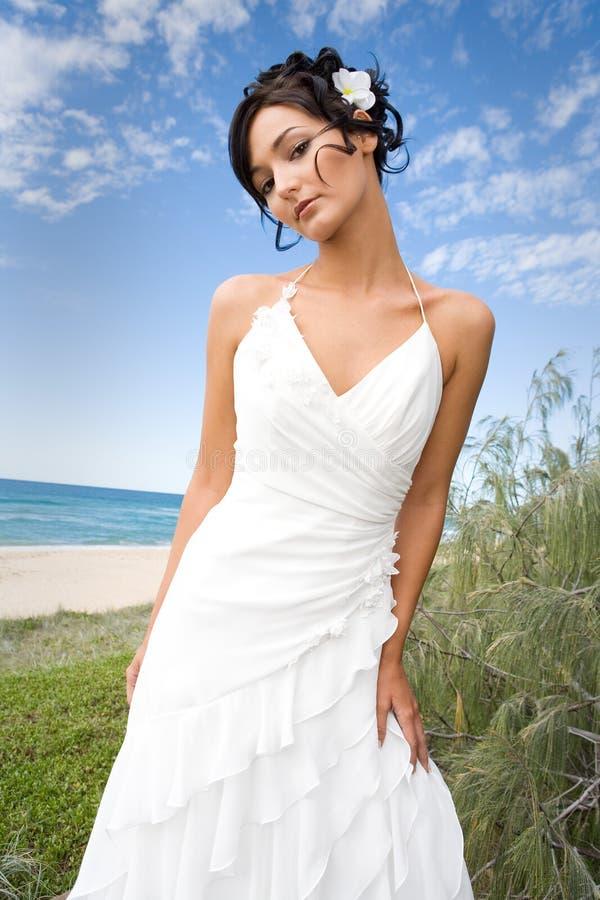 Bruid in huwelijkstoga op strand royalty-vrije stock afbeeldingen