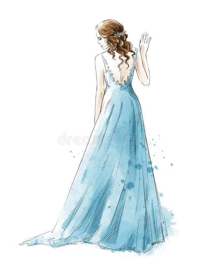 Bruid Jong meisje in een lange kleding, waterverfstijl stock illustratie